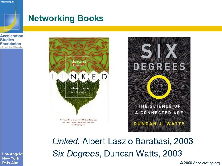Networking Books Los Angeles New York Palo Alto Linked, Albert-Laszlo Barabasi, 2003 Six Degrees,