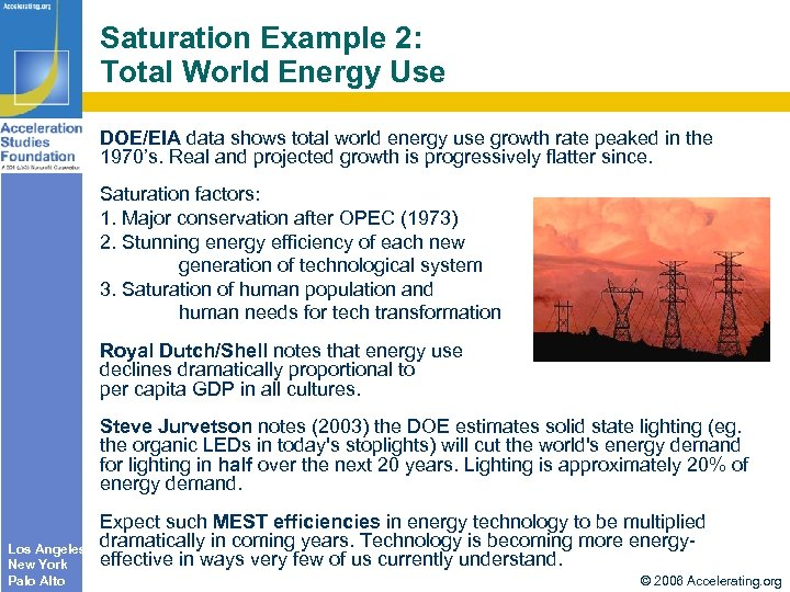 Saturation Example 2: Total World Energy Use DOE/EIA data shows total world energy use