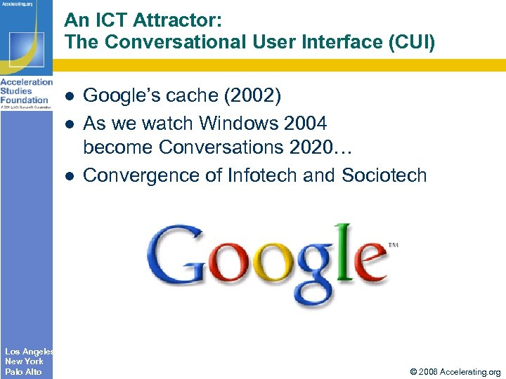 An ICT Attractor: The Conversational User Interface (CUI) Los Angeles New York Palo Alto
