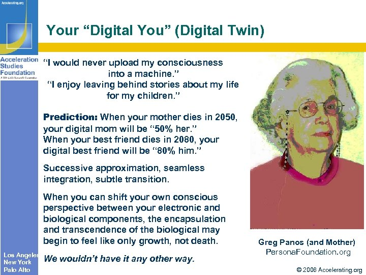 "Your ""Digital You"" (Digital Twin) ""I would never upload my consciousness into a machine."