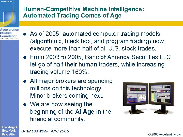 Human-Competitive Machine Intelligence: Automated Trading Comes of Age Los Angeles New York Palo Alto