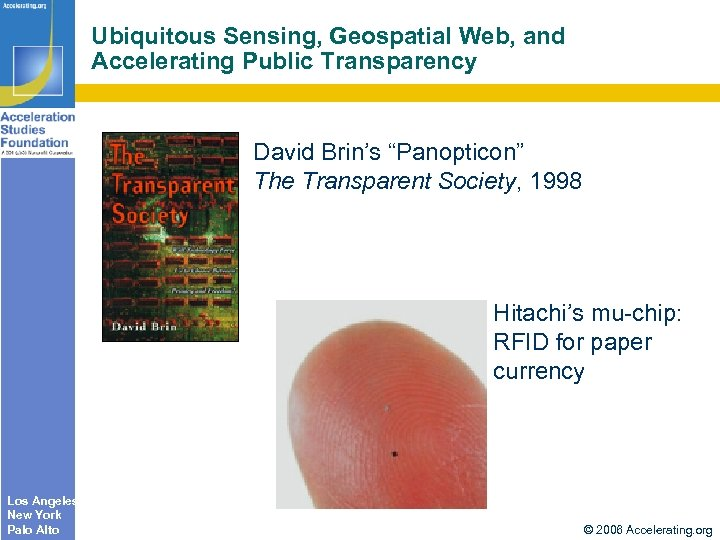 "Ubiquitous Sensing, Geospatial Web, and Accelerating Public Transparency David Brin's ""Panopticon"" The Transparent Society,"