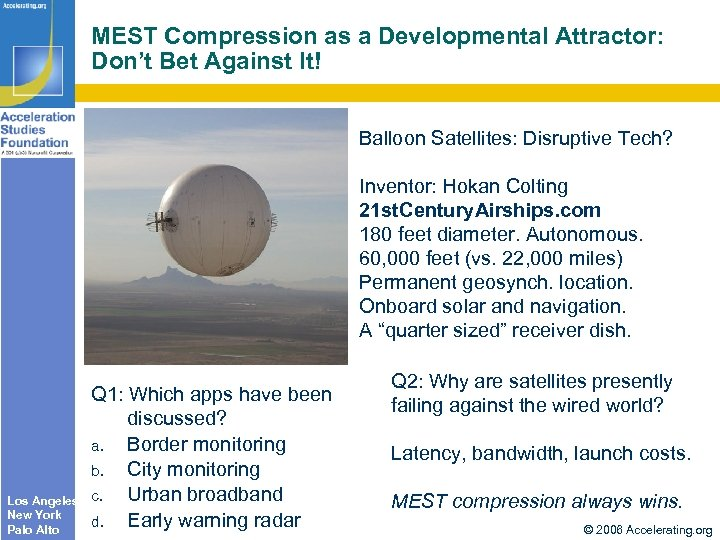 MEST Compression as a Developmental Attractor: Don't Bet Against It! Balloon Satellites: Disruptive Tech?