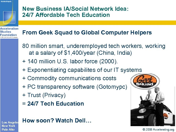 New Business IA/Social Network Idea: 24/7 Affordable Tech Education From Geek Squad to Global