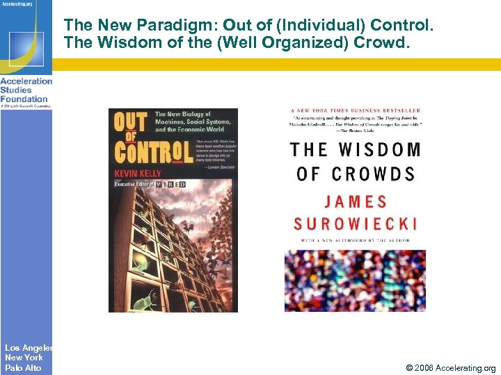 The New Paradigm: Out of (Individual) Control. The Wisdom of the (Well Organized) Crowd.