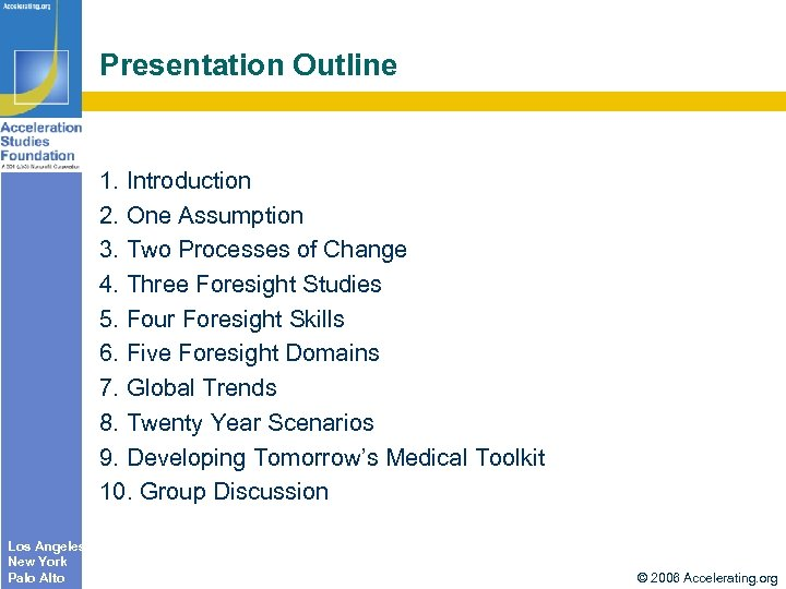 Presentation Outline 1. Introduction 2. One Assumption 3. Two Processes of Change 4. Three