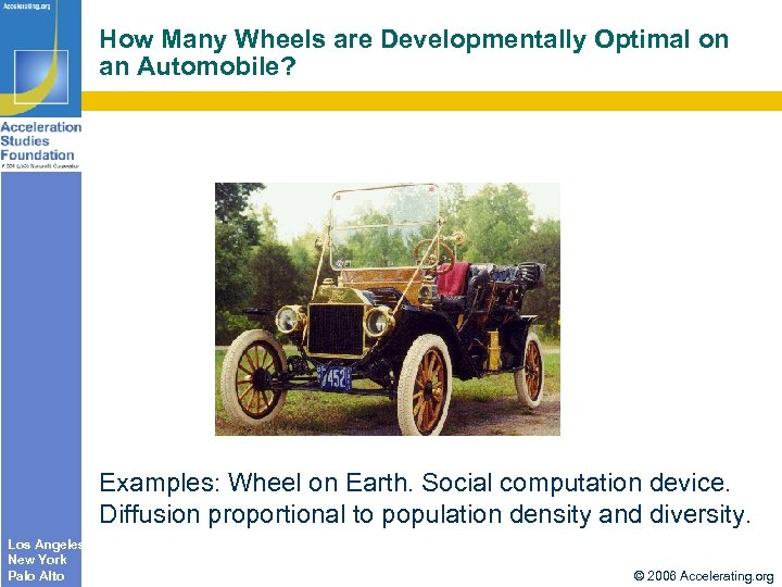How Many Wheels are Developmentally Optimal on an Automobile? Examples: Wheel on Earth. Social