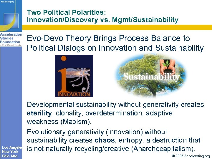 Two Political Polarities: Innovation/Discovery vs. Mgmt/Sustainability Evo-Devo Theory Brings Process Balance to Political Dialogs