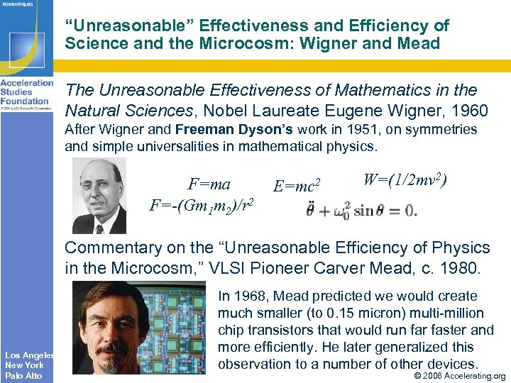 """Unreasonable"" Effectiveness and Efficiency of Science and the Microcosm: Wigner and Mead The Unreasonable"
