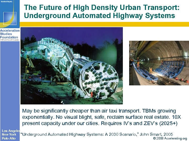 The Future of High Density Urban Transport: Underground Automated Highway Systems May be significantly