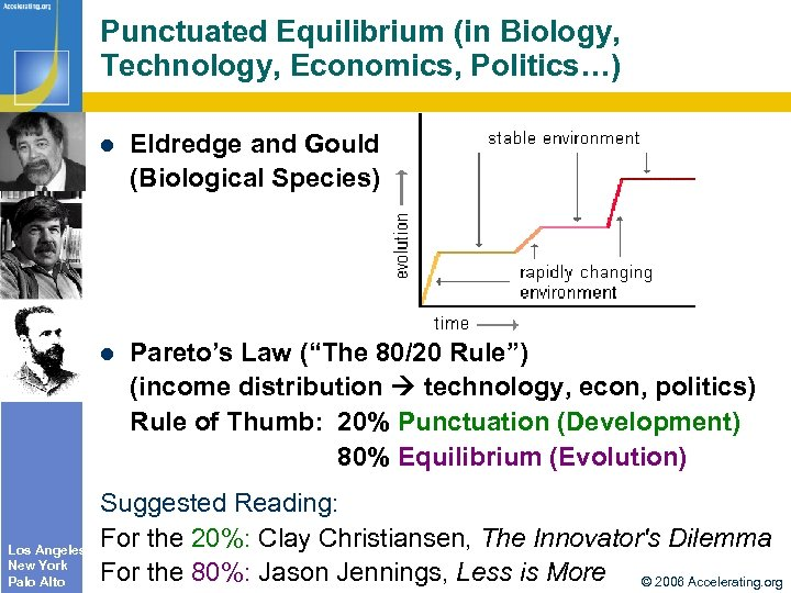 Punctuated Equilibrium (in Biology, Technology, Economics, Politics…) Los Angeles New York Palo Alto Eldredge