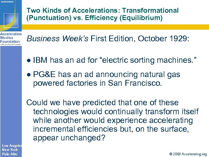 Two Kinds of Accelerations: Transformational (Punctuation) vs. Efficiency (Equilibrium) Business Week's First Edition, October