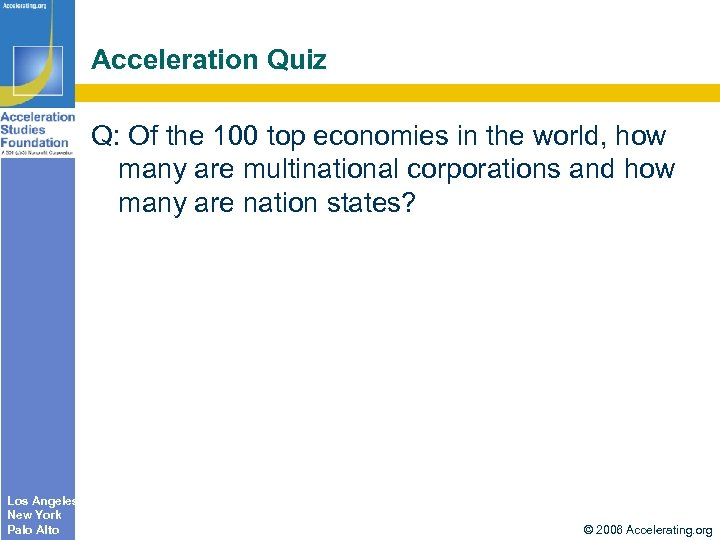 Acceleration Quiz Q: Of the 100 top economies in the world, how many are