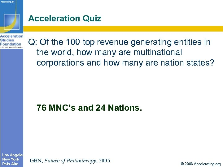 Acceleration Quiz Q: Of the 100 top revenue generating entities in the world, how