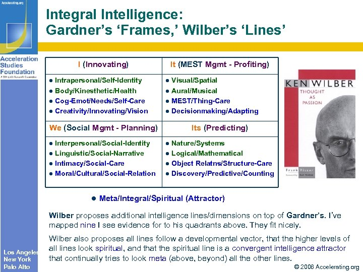 Integral Intelligence: Gardner's 'Frames, ' Wilber's 'Lines' I (Innovating) It (MEST Mgmt - Profiting)