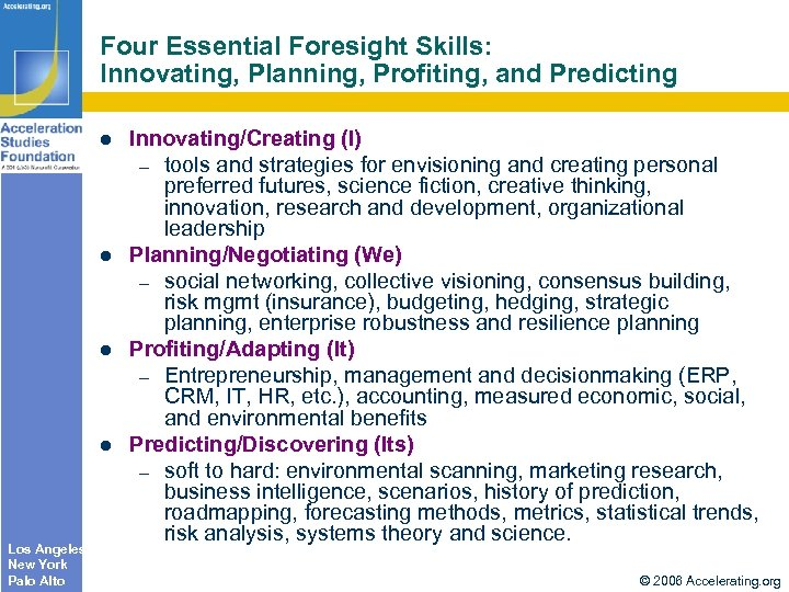 Four Essential Foresight Skills: Innovating, Planning, Profiting, and Predicting Los Angeles New York Palo