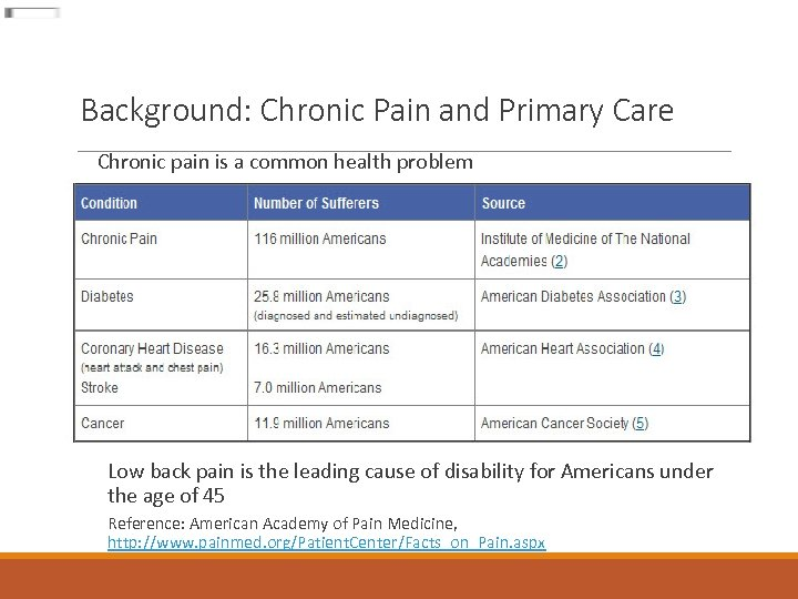 Background: Chronic Pain and Primary Care Chronic pain is a common health problem Low
