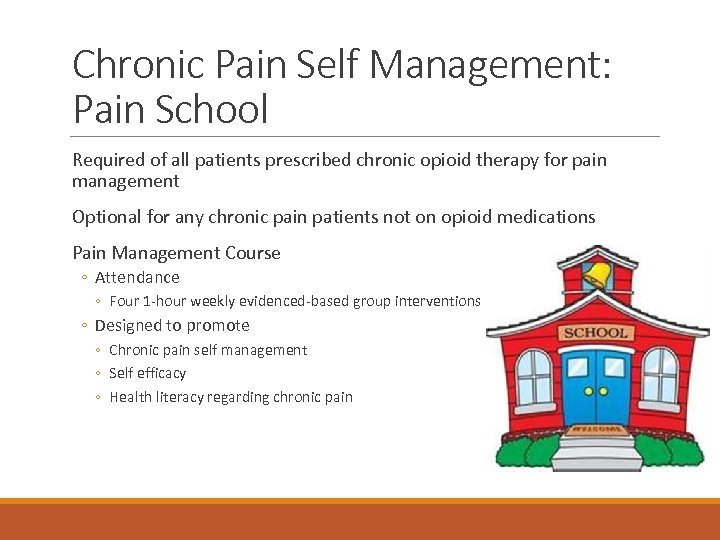 Chronic Pain Self Management: Pain School Required of all patients prescribed chronic opioid therapy