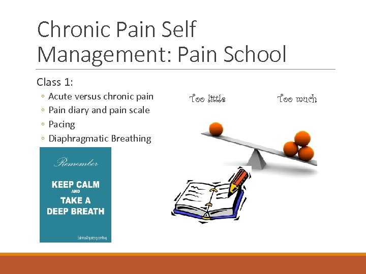 Chronic Pain Self Management: Pain School Class 1: ◦ ◦ Acute versus chronic pain