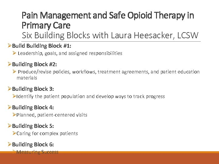Pain Management and Safe Opioid Therapy in Primary Care Six Building Blocks with Laura