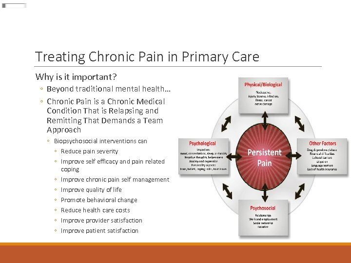 Treating Chronic Pain in Primary Care Why is it important? ◦ Beyond traditional mental