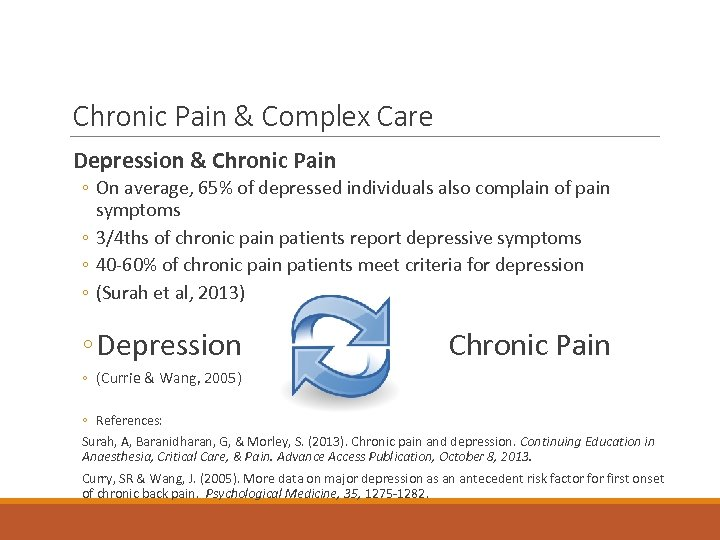 Chronic Pain & Complex Care Depression & Chronic Pain ◦ On average, 65% of