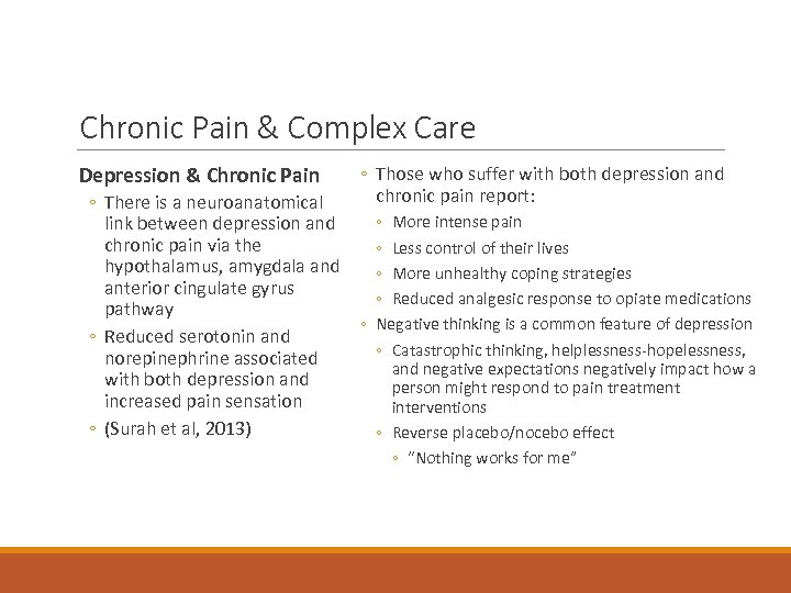 Chronic Pain & Complex Care Depression & Chronic Pain ◦ Those who suffer with