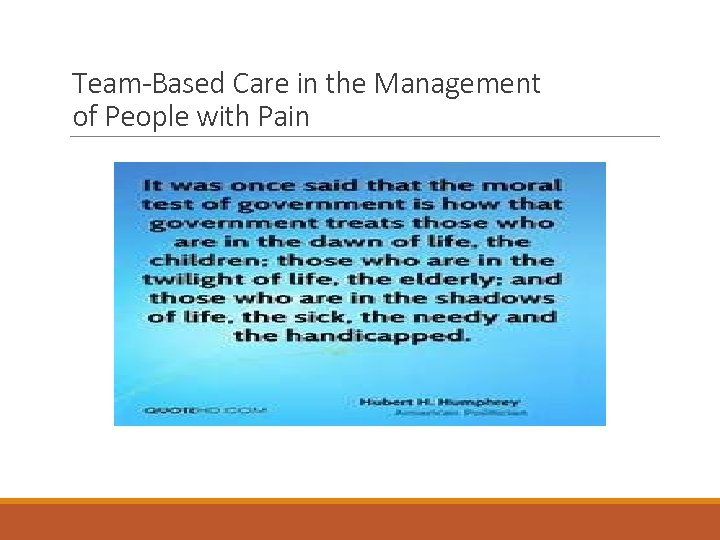 Team-Based Care in the Management of People with Pain