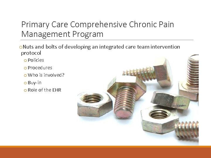 Primary Care Comprehensive Chronic Pain Management Program o. Nuts and bolts of developing an