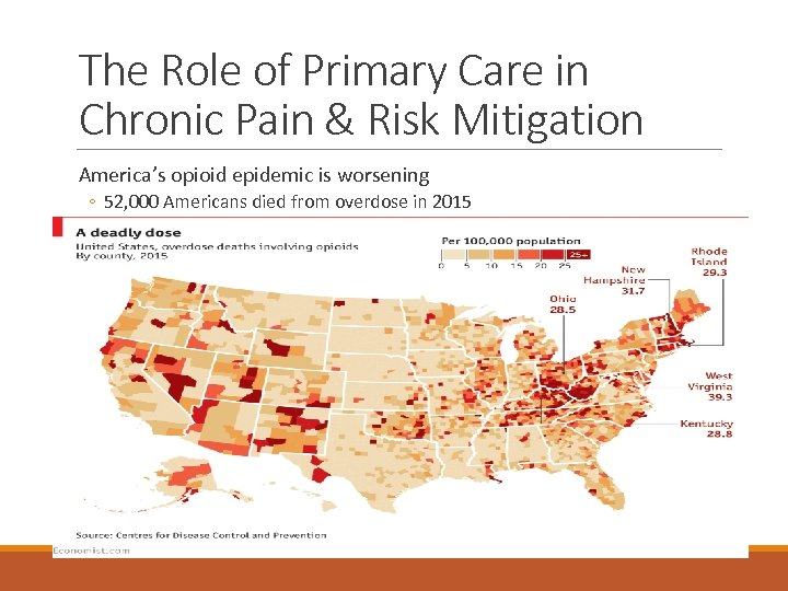 The Role of Primary Care in Chronic Pain & Risk Mitigation America's opioid epidemic