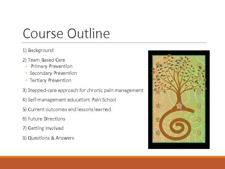 Course Outline 1) Background 2) Team Based Care ◦ Primary Prevention ◦ Secondary Prevention