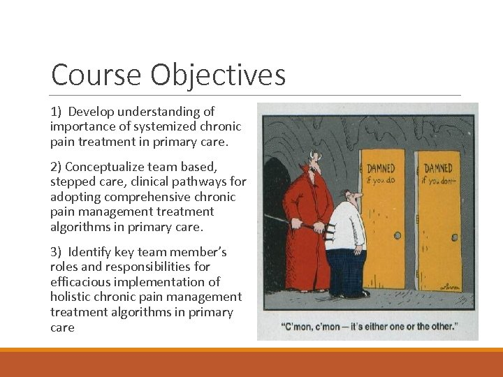Course Objectives 1) Develop understanding of importance of systemized chronic pain treatment in primary