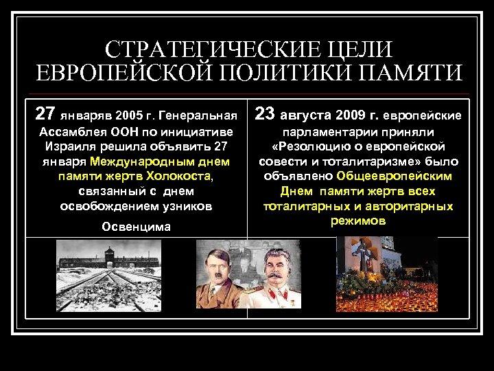СТРАТЕГИЧЕСКИЕ ЦЕЛИ ЕВРОПЕЙСКОЙ ПОЛИТИКИ ПАМЯТИ 27 январяв 2005 г. Генеральная 23 августа 2009 г.