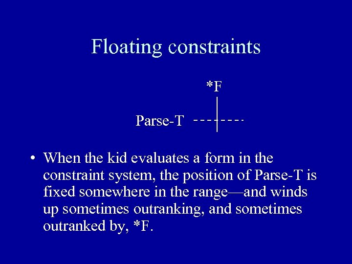 Floating constraints *F Parse-T • When the kid evaluates a form in the constraint