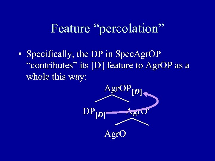 """Feature """"percolation"""" • Specifically, the DP in Spec. Agr. OP """"contributes"""" its [D] feature"""