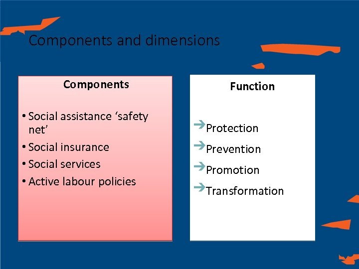 Components and dimensions Components • Social assistance 'safety net' • Social insurance • Social