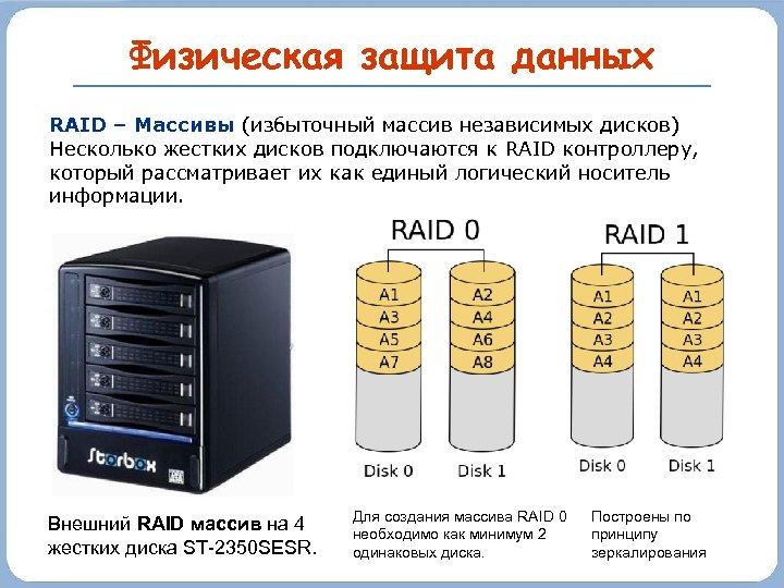Физическая защита данных RAID – Массивы (избыточный массив независимых дисков) Несколько жестких дисков подключаются