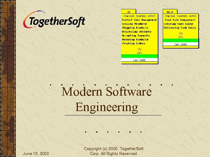Modern Software Engineering June 15, 2000 Copyright (c) 2000. Together. Soft Corp. All Rights