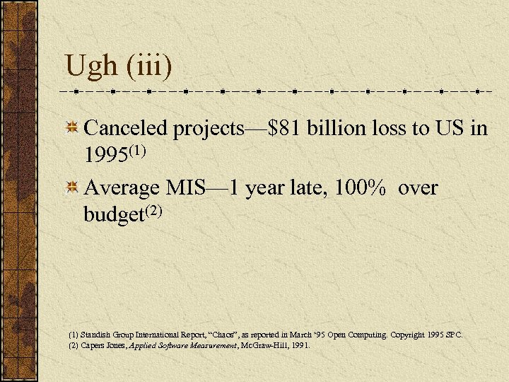 Ugh (iii) Canceled projects—$81 billion loss to US in 1995(1) Average MIS— 1 year