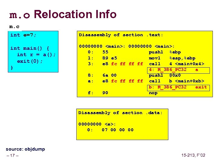 m. o Relocation Info m. c int e=7; Disassembly of section. text: int main()