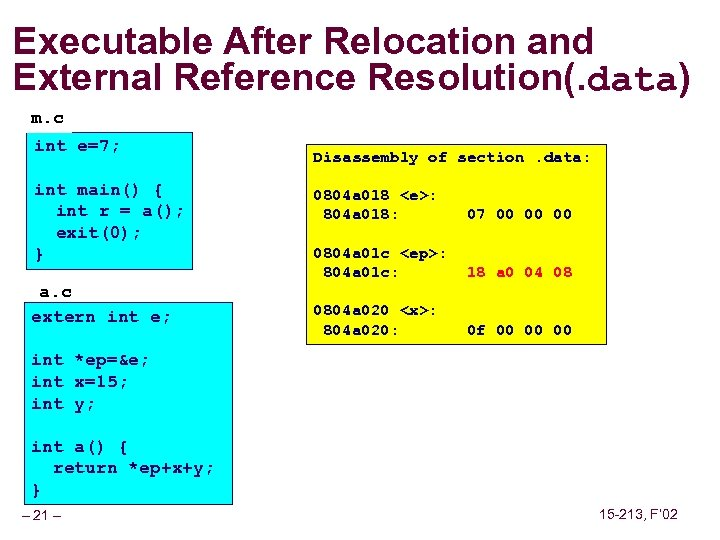 Executable After Relocation and External Reference Resolution(. data) m. c int e=7; int main()