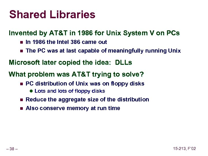 Shared Libraries Invented by AT&T in 1986 for Unix System V on PCs n