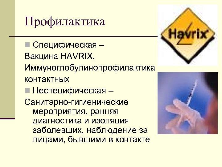 Профилактика n Специфическая – Вакцина HAVRIX, Иммуноглобулинопрофилактика контактных n Неспецифическая – Санитарно гигиенические мероприятия,