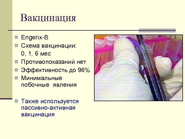 Вакцинация n Engerix B n Схема вакцинации: 0, 1, 6 мес n Противопоказаний нет