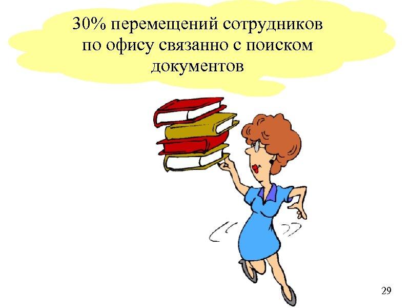 30% перемещений сотрудников по офису связанно с поиском документов 29