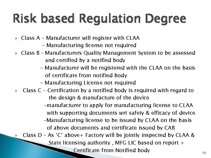 Risk based Regulation Degree Class A - Manufacturer will register with CLAA - Manufacturing