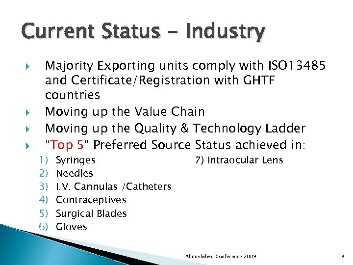 Current Status - Industry Majority Exporting units comply with ISO 13485 and Certificate/Registration with