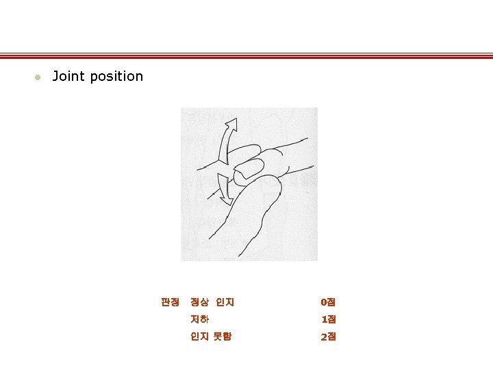 l Joint position 판정 정상 인지 0점 저하 1점 인지 못함 2점
