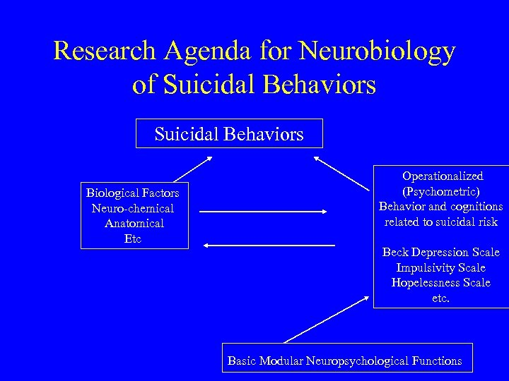 Research Agenda for Neurobiology of Suicidal Behaviors Biological Factors Neuro-chemical Anatomical Etc Operationalized (Psychometric)