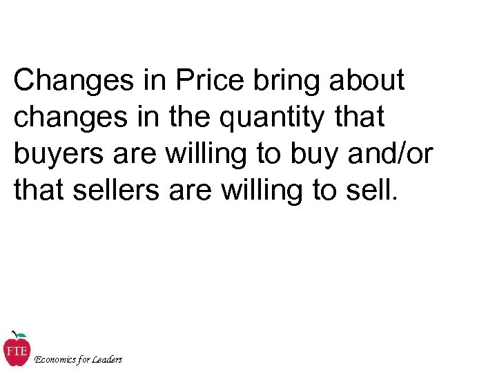 Changes in Price bring about changes in the quantity that buyers are willing to